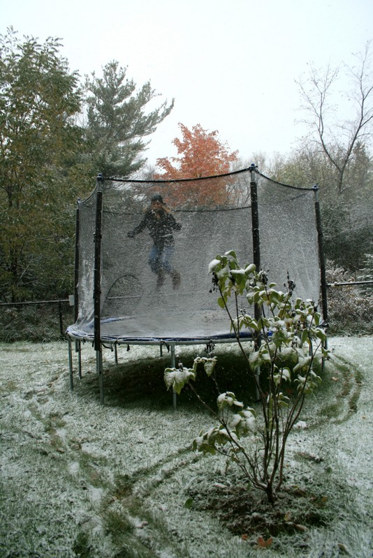 Early Snow and Trampoline Fun