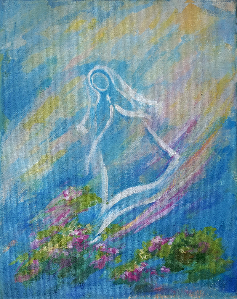 Dancing Nun, acrylic on canvas, 8x10