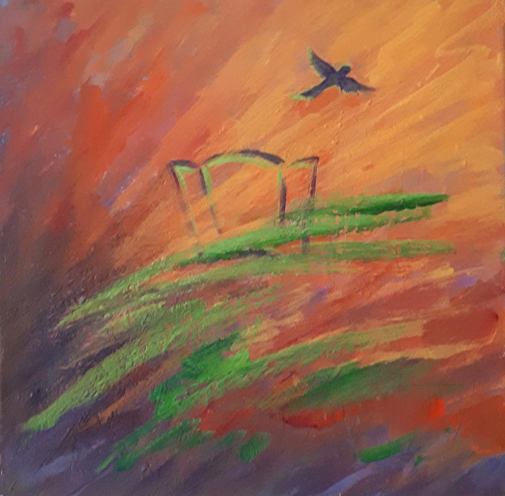 Freedom, acrylic on canvas, 12x12